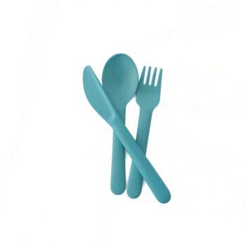 Ekobo bamboo σετ κουτάλι-μαχαίρι-πιρούνι lagoon γαλαζοπρασινο - Αξεσουάρ Κουζίνας - creamsndreams.gr