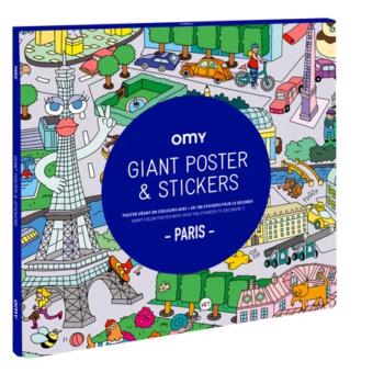 Omy Αφίσα γίγας με αυτοκόλλητα Παρίσι 100X70 - Παιχνίδια - Δημιουργικά - Creamsndreams