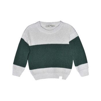Bo block knitted sweater dark green