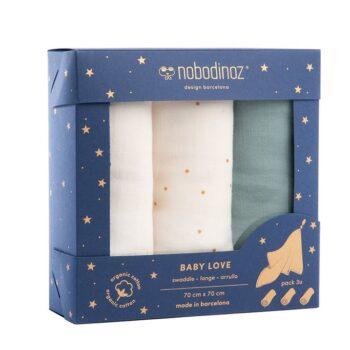 Nobodinoz Σετ 3 ΚουβερτάΚια 70Χ70 Baby Love New Elements Eden Green - Διακόσμηση - Λευκά είδη - creamsndreams.gr