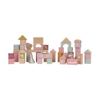 little dutch Σετ Ξύλινα τουβλάκια ροζ - Παιχνίδια - Ξύλινα - creamsndreams.gr
